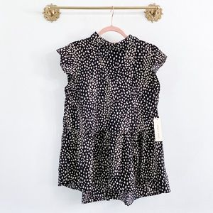 Doe & Rae Leopard Swing Collar Blouse